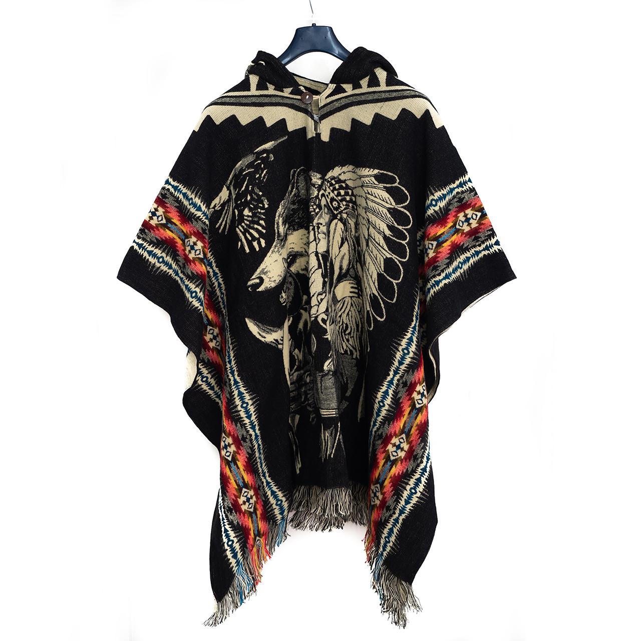 снимка на Пончо унисекс черно индианец