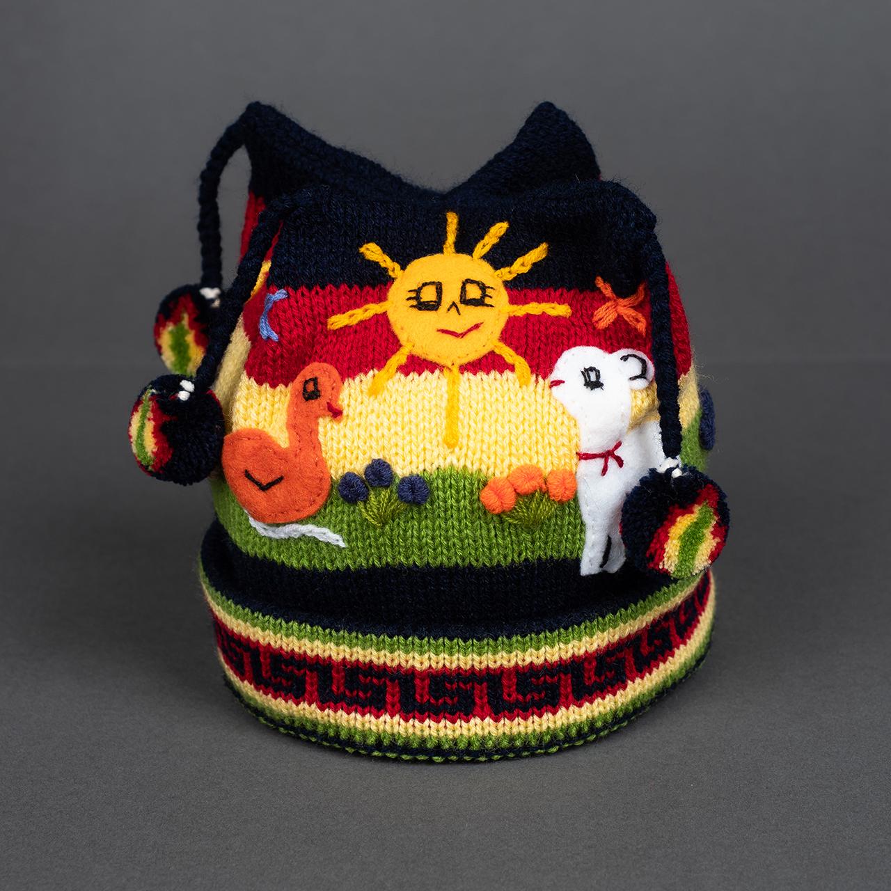 снимка на Детска шапка бялооранжева