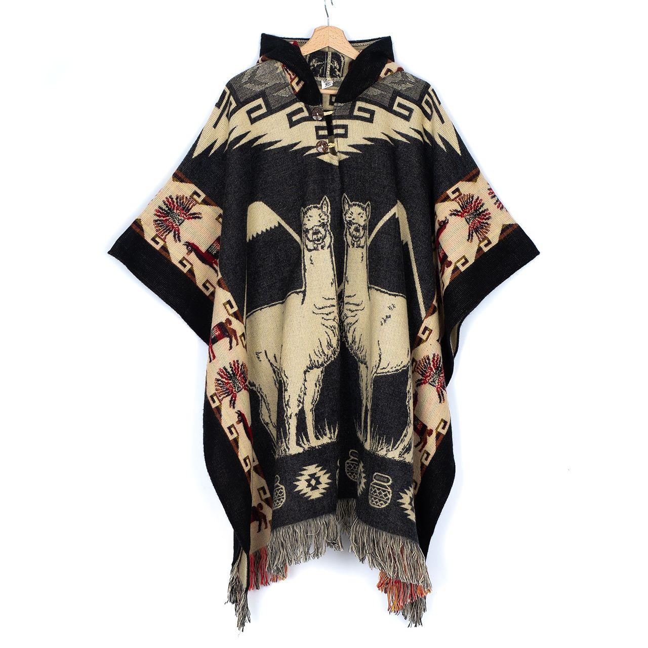 снимка на Пончо унисекс сиво лама