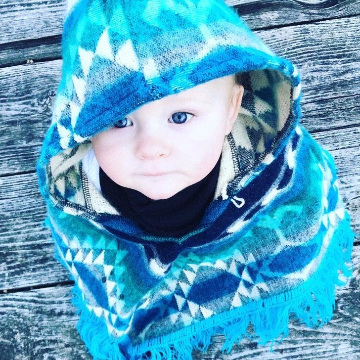 снимка на Детско пончо синьо размер  година