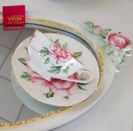 снимка на Чаша с чинийка костен порцелан