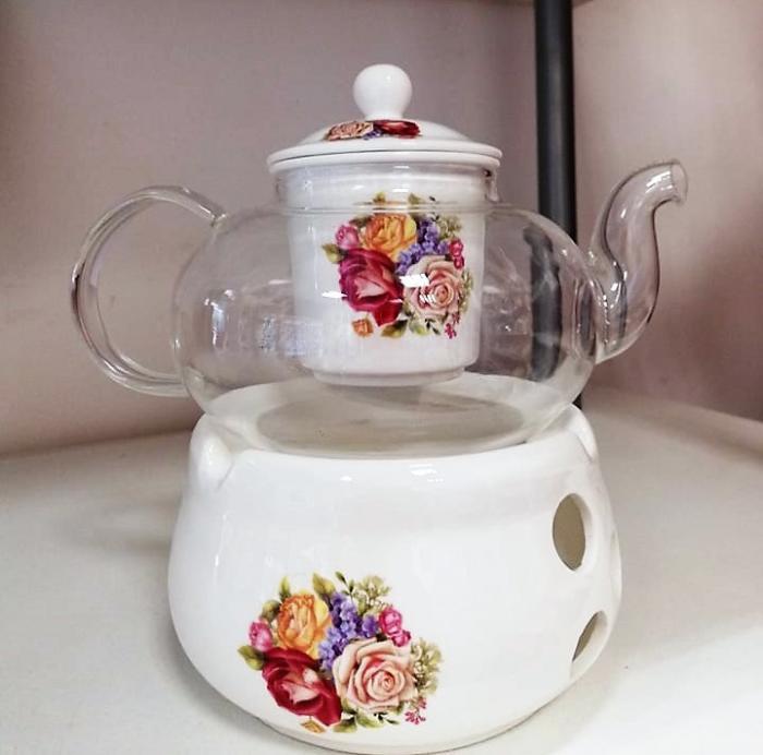 Комплект огнеупорно чайниче с поставка