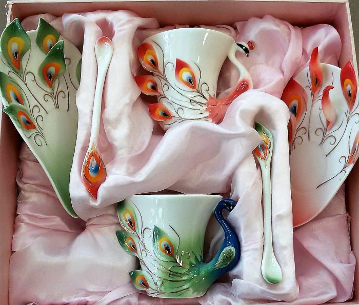 Комплект чаши Паун бутиков, костен порцелан