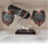 снимка на Рисуван комплект за вино