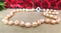 Розова гривна с естествени перли - 3 реда