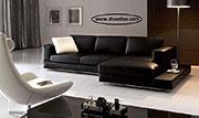 снимка на Геобразен диван от кожа по поръчка