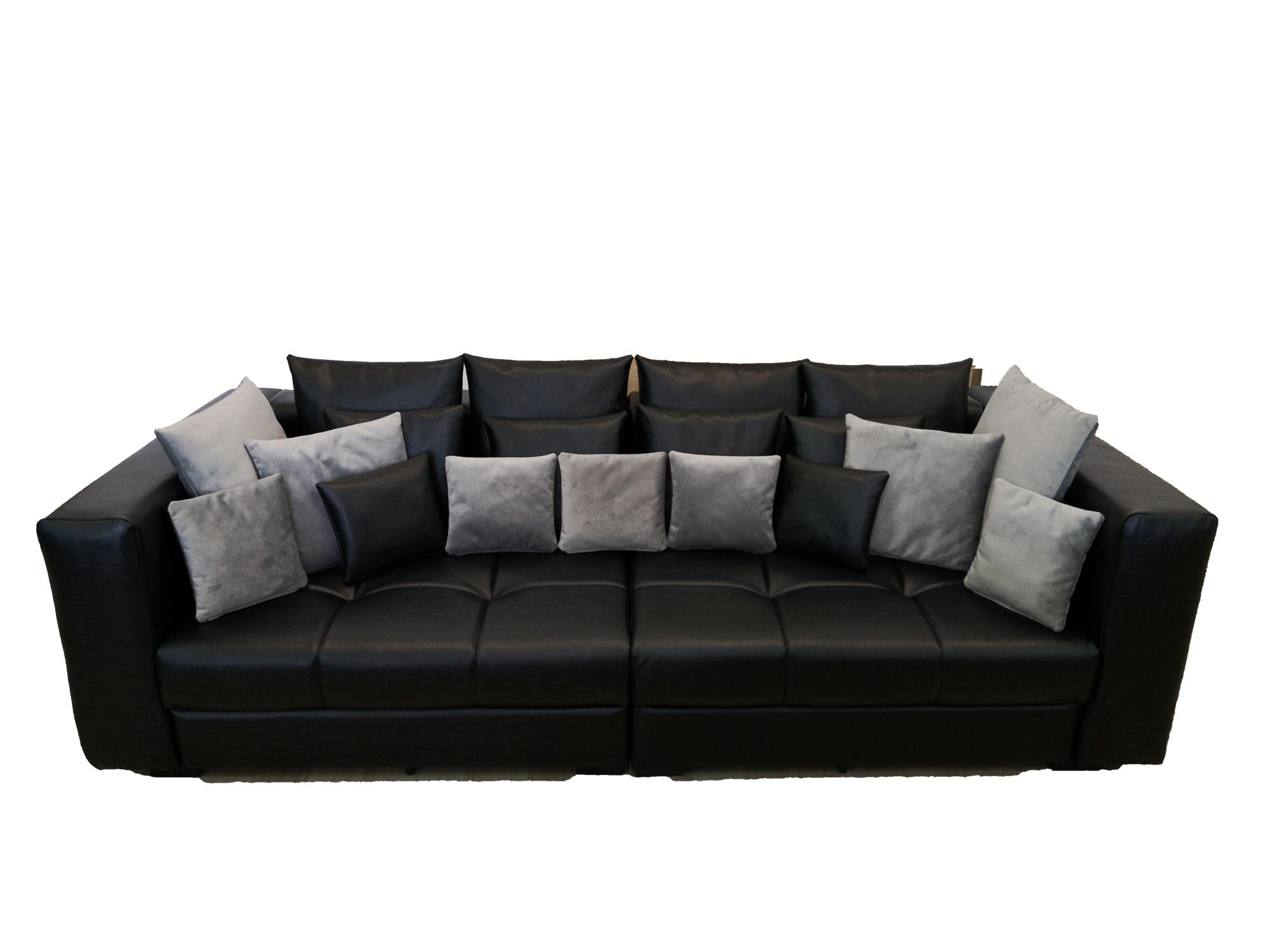 снимка на Черен кожен диван двойка по поръчка цена