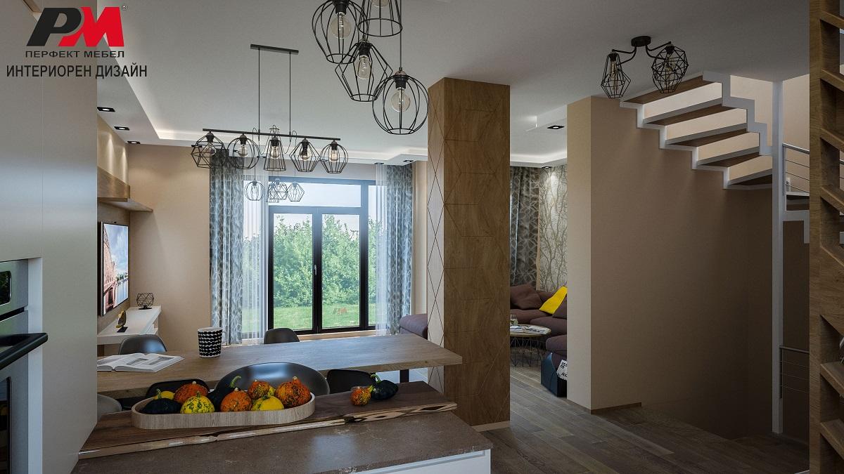 снимка на Екстравагантен интериорен дизайн на голяма триетажна къща