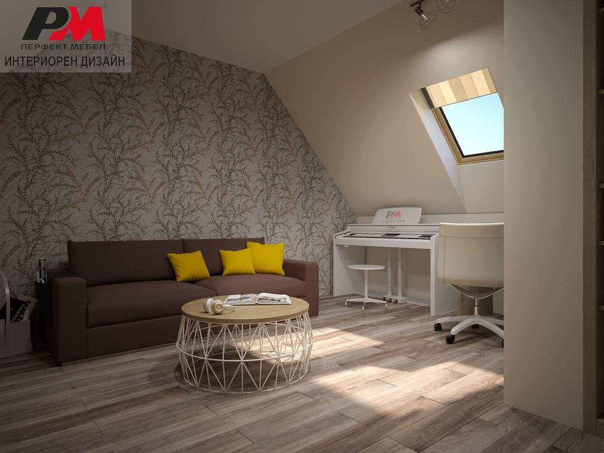 Очарователен интериор на голяма къща с уютна мансарда