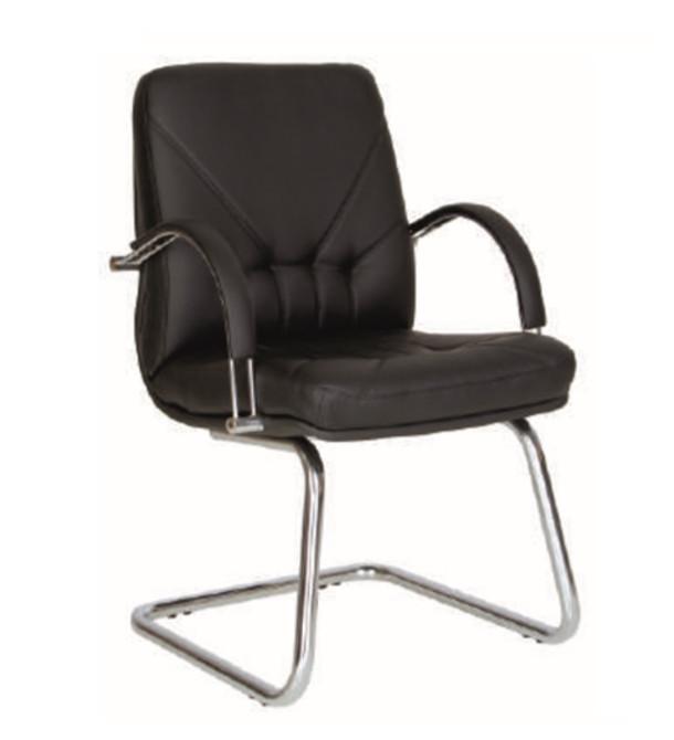 снимка на Посетителски стол Manager steel sflb естествена кожа