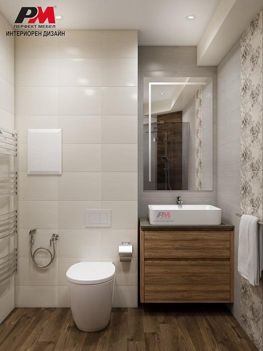 снимка на Интериорен проект на стилна баня в пастелни тонове и дървесни текстури