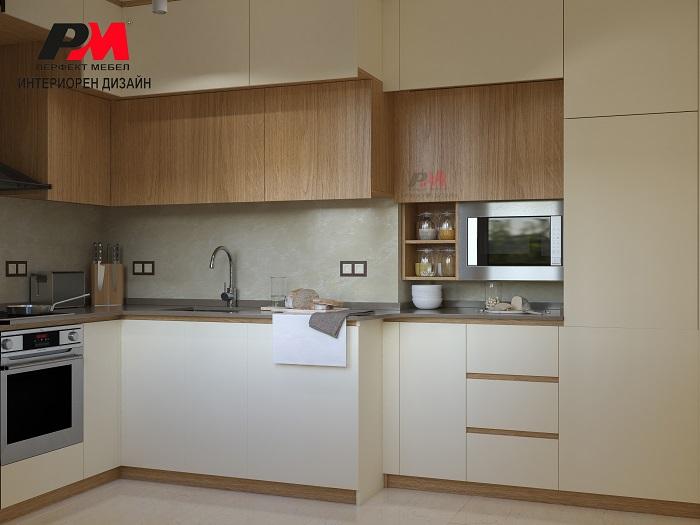 Съвременен интериор на кухня с прави форми в два цвята.