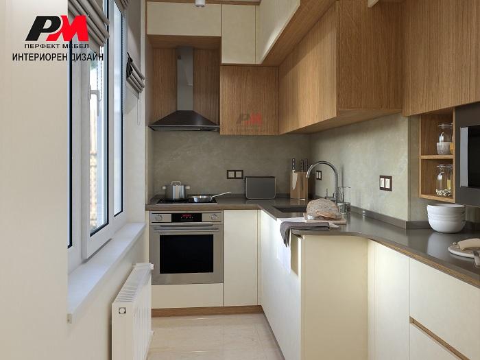 Интериорен дизайн на кухня с модерно обзавеждане.