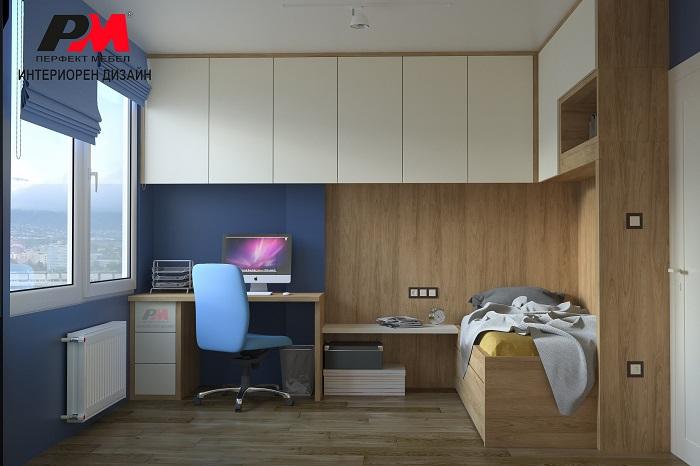 Спалня с интериорен дизайн в три цвята.