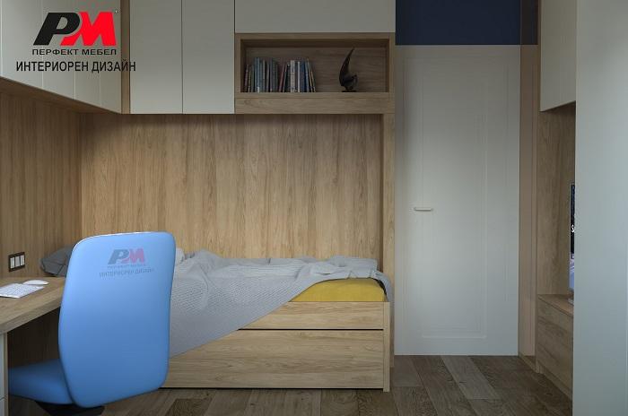 снимка на Модерен интериор на спалня с изчистени линии и стилно съчетание от цветове.