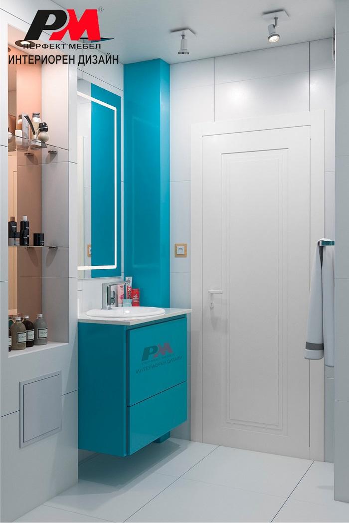 снимка на Елегантност с прави линии в съвременния интериор на банята.