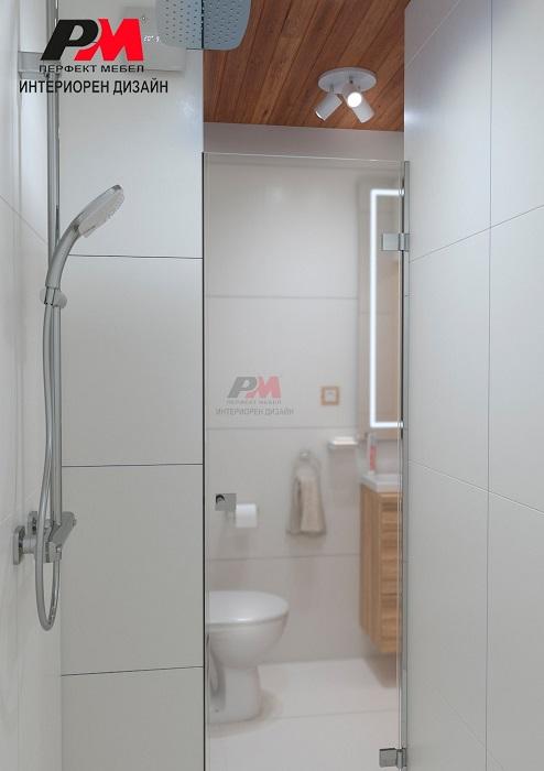 снимка на Съвременен интериорен дизайн на баня, нежно съчетание на бяло с естествено дърво.