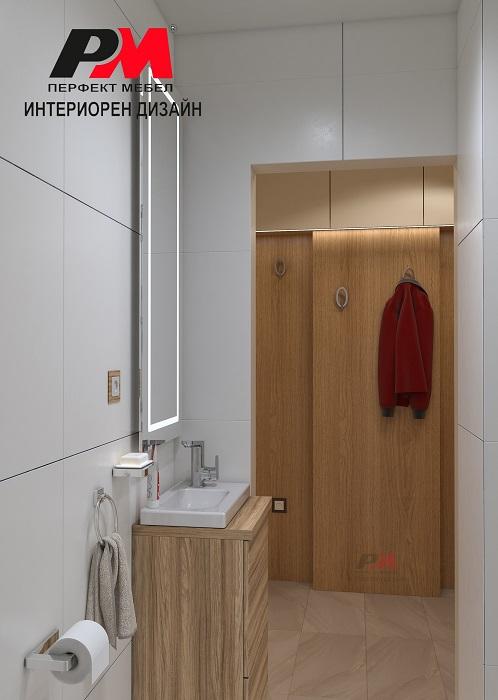 снимка на Луксозен интериорен дизайн на баня с дървена плъзгаща врата