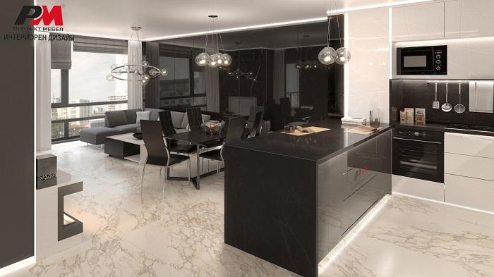 снимка на Модерен интериор на кухня с всекидневна в общо просторно помещение.
