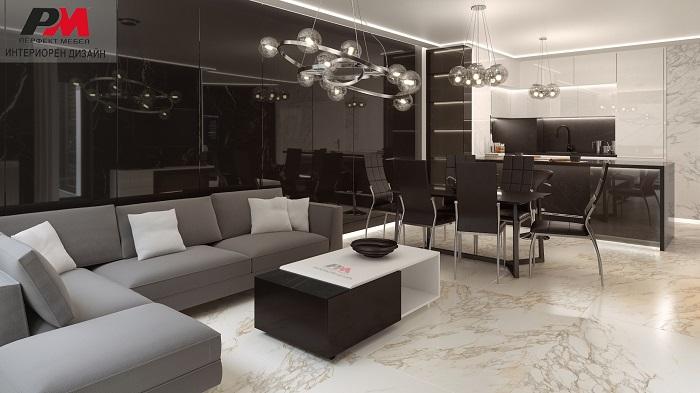 снимка на Интериорен дизайн на апартамент в съвременен стил.