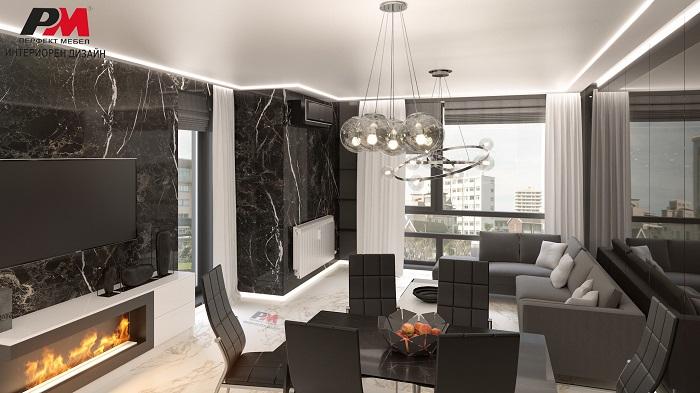 снимка на Луксозен интериорен дизайн на всекидневна с трапезария.