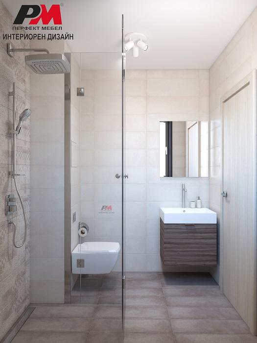 снимка на Дизайн проект на малка съвременна баня в свежи пастелни тонове