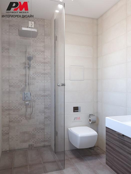 снимка на Стилен интериор на малка функционална баня в семпли тонове