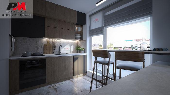 снимка на Модерен интериорен проект на кухня в изчистена и стилна линия