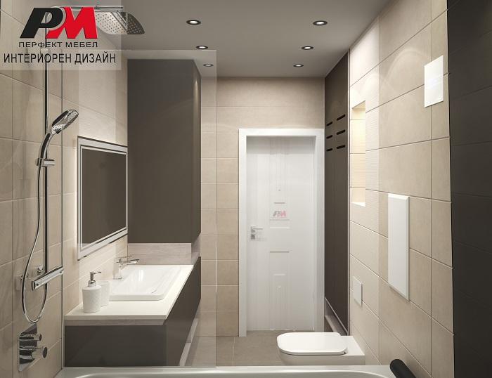 снимка на Съвремено интериорно решение на баня в стилни пастелни тонове