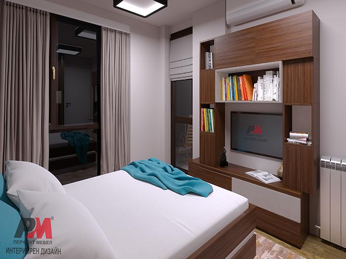 снимка на Модерна спалня дървесни текстури и изчистена стилна визия