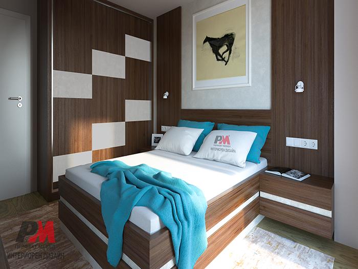 снимка на Модерна спалня с дървесни текстури и изчистена стилна визия