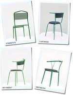 Модерни метални столове с различни седалки