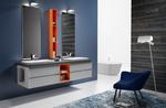 снимка на качествени Цветни шкафове за баня плот технически камък водоустойчиви