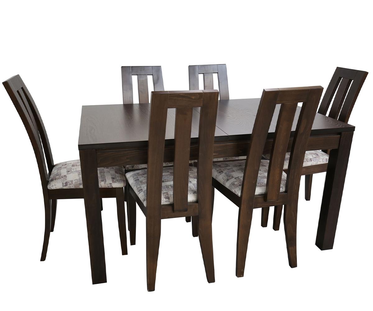 снимка на Комплект разтегателна трапезна маса с  стола ТРОН   см./ +  см./ см.