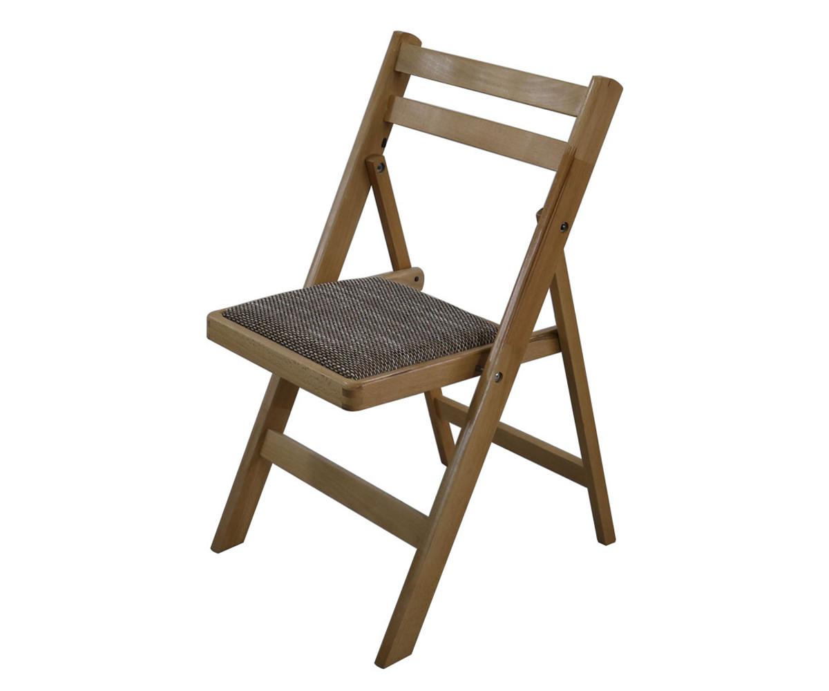 снимка на Трапезен сгъваем стол с тапицерия в сив цвят
