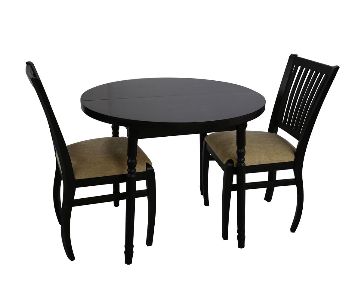 снимка на Кръгла разтегателна маса с два стола /ф   +  см./ см.