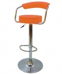 Удобен тапициран бар стол оранжев