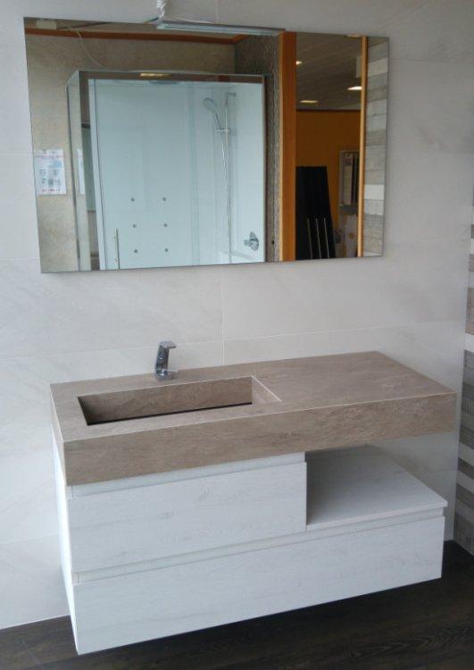 снимка на Правоъгълна мивка за баня технически камък