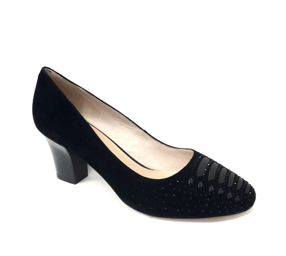 снимка на Елегантни дамски обувки от естествен велур в черно.