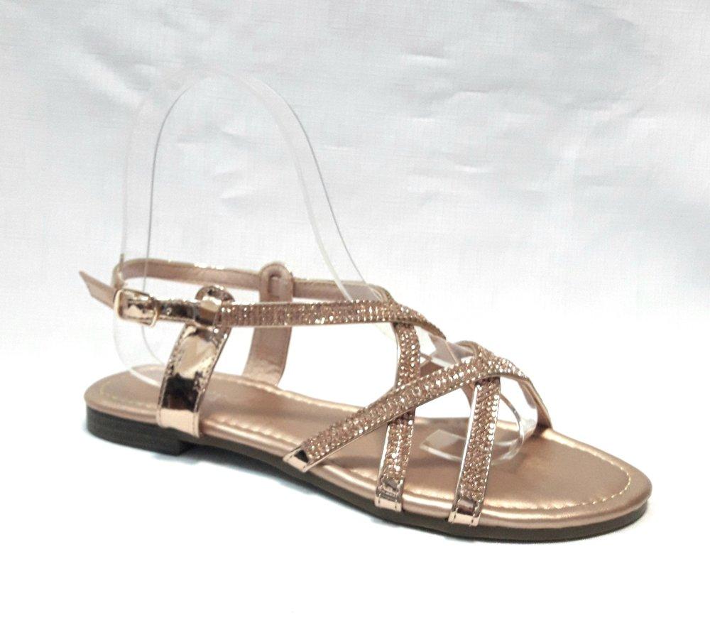 снимка на Кожени дамски сандали с камъчетазлатисти.