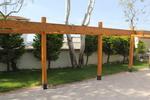 редови дървени перголи