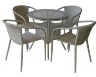 снимка на Сивобежев комплект изкуствен ратан с  стола