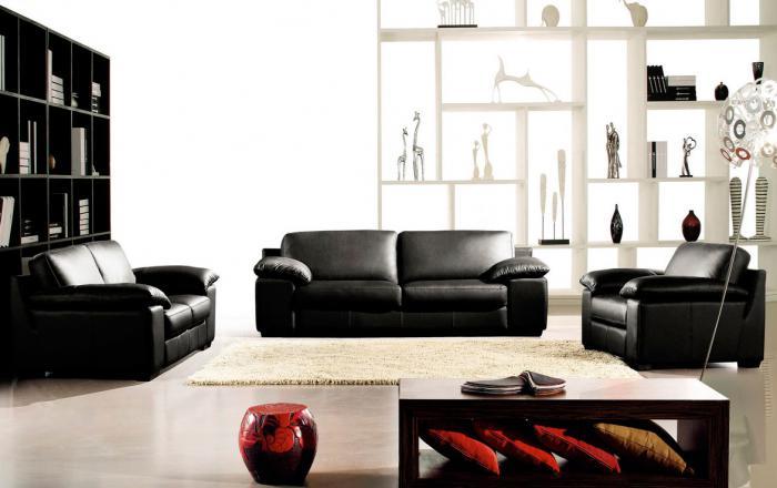 Модерен диван тройка 219/97/88см в черно