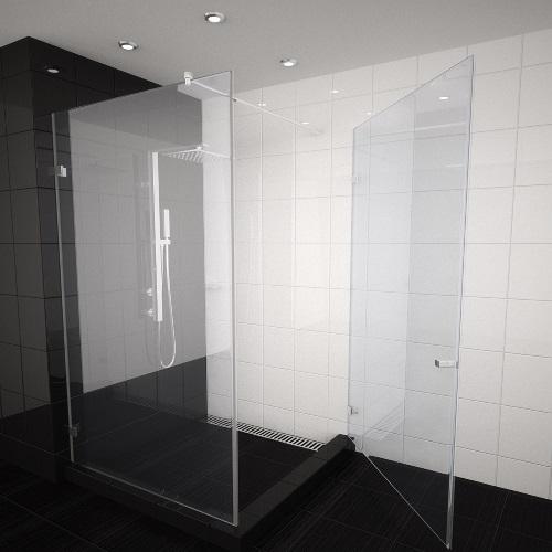 снимка на CLASS  душ кабина от две части  статик+врата  мм различни размери