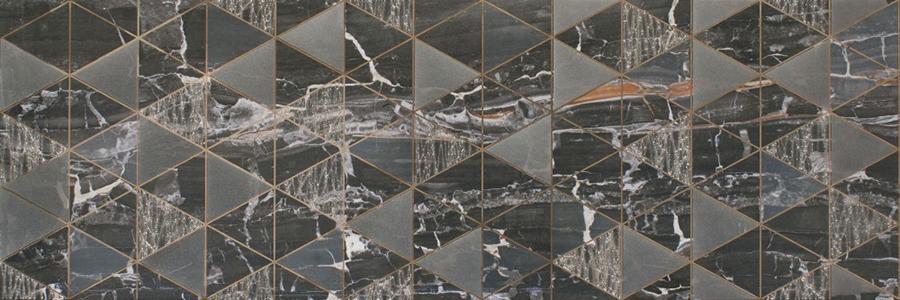 Декор плочка за баня LEONARDO LIONELA BLACK BRILLO 30x90