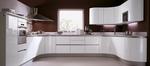 снимка на обзавеждане на ъглови заоблени кухни