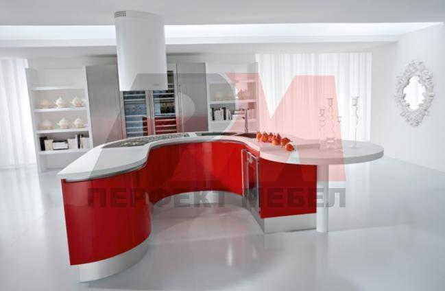 дизайни на обли кухни с плот технически камък