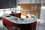 снимка на дизайни на обли кухни с плот технически камък
