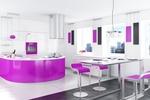 снимка на дизайни на кухни с овални форми в ярки цветове