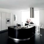 снимка на луксозни огънати кухни с врати черен МДФ